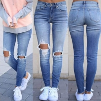 Fashion High Waist Slim Fit Hollow Out Ripped Jeans