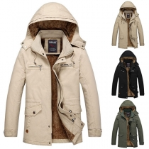Fashion Solid Color Hooded Plush Lining Man's Coat