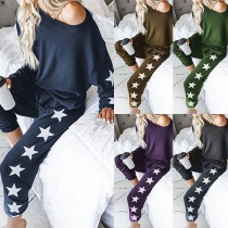 Sexy Oblique Shoulder Long Sleeve Star Printed Two-piece Set