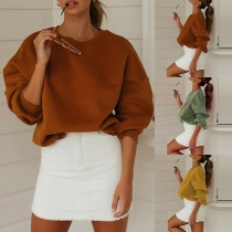 Casual Style Long Sleeve Round Neck Solid Color Loose Sweatshirt