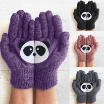 Cute Cartoon Panda Pattern Knit Gloves