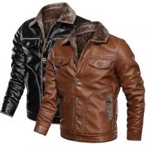 Retro Style Long Sleeve Faux Fur Collar Man's PU Leather Coat