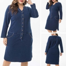 Fashion Long Sleeve V-neck Plus-size Denim Dress