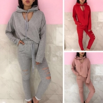 Fashion Solid Color Hooded Sweatshirt + Ripped Pants Two-piece Set