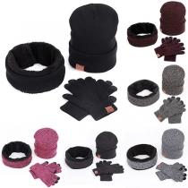 Fashion Knit Beanie + Infinite Scarf + Gloves Three-piece Set