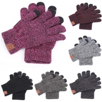 Fashion Mixed Color Knit Gloves