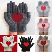 Fashion Heart Pattern Knit Gloves