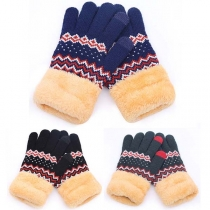 Fashion Contrast Color Printed Plush Lining Knit Gloves