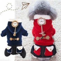 Fashion Solid Color Hooded Plush Lining Coat for Pets