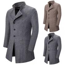Fashion Long Sleeve Stand Collar Man's Woolen Coat