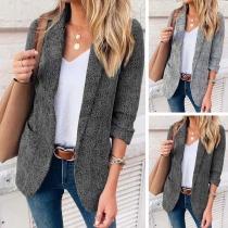 OL Style Long Sleeve 3/4 Sleeve Slim Fit Blazer