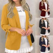 OL Style 3/4 Sleeve Solid Color Slim Fit Blazer