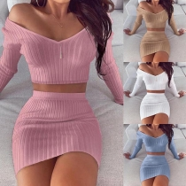 Sexy Long Sleeve V-neck Crop Top + Skirt Two-piece Set