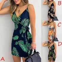 Sexy Backless V-neck Slim Fit Printed Sling Dress
