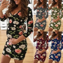 Fashion Long Sleeve V-neck Slim Fit Printed Maternity Dress