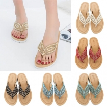 Bohemian Style Flat  Heel Pearl Inlaid Flip-flops