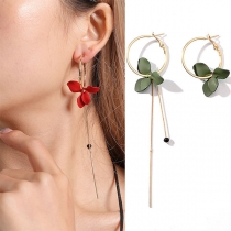 Fashion Tassel Petal Pendant Asymmetric Earrings