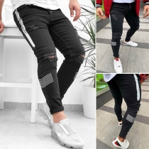 Fashion Contrast Color Ripped Man's Jeans