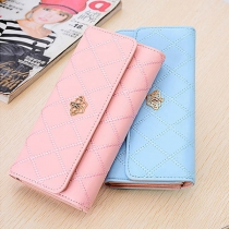 Fashion Solid Color Three-fold Long-style Wallet