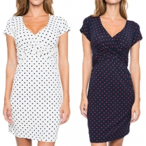 Fashion Short Sleeve V-neck Dots Printed Maternity Dress