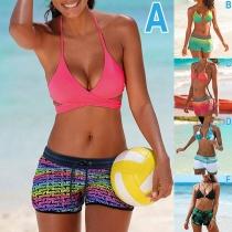 Sexy Contrast Color Halter Bikini Set