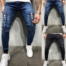 Fashion Middle Waist Front-zipper Man's Jeans