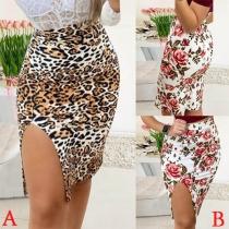 Sexy High Waist Slim Hem Slim Fit Printed Skirt