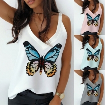 Fashion Butterfly Printed V-neck Sling Top