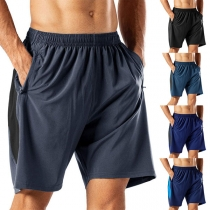 Fashion Solid Color Elastic Waist Man's Knee-length Shorts