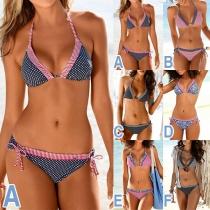 Sexy Low-waist Printed Halter Bikini Set