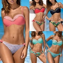 Sexy Backless Low-waist Printed Bikini Set
