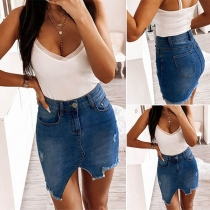 Fashion High Waist Irregular Hem Slim Fit Denim Skirt