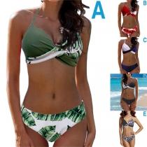 Sexy Low-waist Crossover Halter Bikini Set