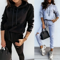 Fashion Solid Color Long Sleeve Hooded Ripped Sweatshirt + Pants Two-piece Set