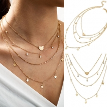 Fashion Star Hear Pendant Multi-layer Necklace