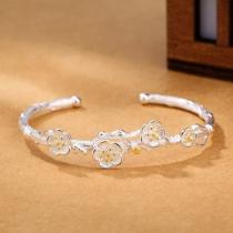 Fashion Silver-tone Plum Blossom Bracelet