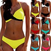 Sexy Low-waist Contrast Color Halter Bikini Set