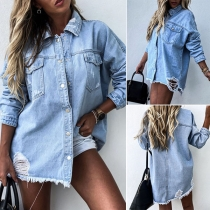 Fashion Long Sleeve POLO Collar Ripped Denim Shirt(The size falls big)