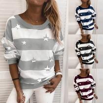 Fashion Star Printed Long Sleeve Round Neck Striped Sweatshirt