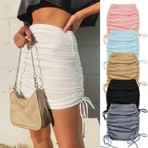 Fashion Solid Color High Waist Side-drawstring Slim Fit Skirt