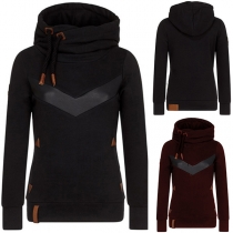 Fashion PU Leather Spliced Long Sleeve Hooded Sweatshirt (The size runs small)