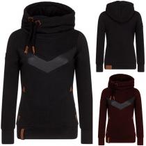 Fashion PU Leather Spliced Long Sleeve Hooded Sweatshirt (The size runs small)