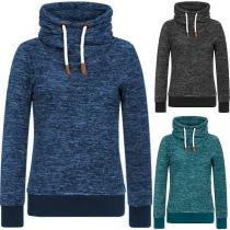 Fashion Long Sleeve High Collar Thin Plush Sweatshirt
