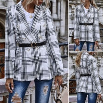 OL Style Long Sleeve Double-breasted Plaid Blazer Coat
