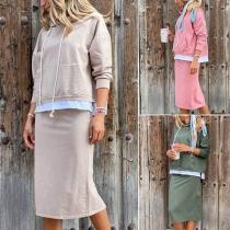 Fashion Long Sleeve Hooded Sweatshirt + Skirt Two-piece Set