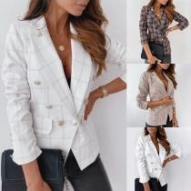 Fashion Long Sleeve Double-breasted Slim Fit Plaid Blazer