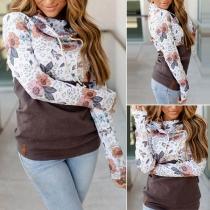 Fashion Printed Spliced Long Sleeve Cowl Neck Sweatshirt