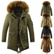 Fashion Faux Fur Spliced Hooded Plush Lining Man's Padded Coat