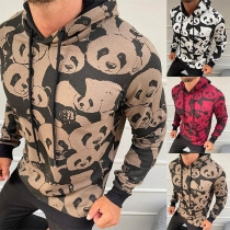 Cute Panda Printed Long Sleeve Hooded Man's Sweatshirt