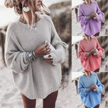 Fashion Solid Color Long Sleeve Round Neck Loose Sweater
